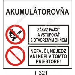 Akumulátorovňa. Zákaz fajčiť a vstupovať s otvoreným ohňom. Nefajč, nejedz ani nepi v tomto priestore!