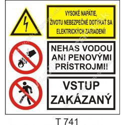Vysoké napätie, životu nebezpečné dotýkať sa elektrických zariadení! Nehas vodou ani penovými prístrojmi! Vstup zakázaný
