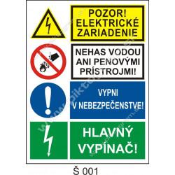 Pozor! Elektrické zariadenie. Nehas vodou ani penovými prístrojmi! Vypni v nebezpečenstve! Hlavný vypínač!