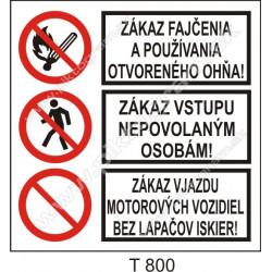 Zákaz fajčenia a používania otvoreného ohňa! Zákaz vstupu nepovolaným ...! Zákaz vjazdu motorových vozidiel bez lapačov iskier!