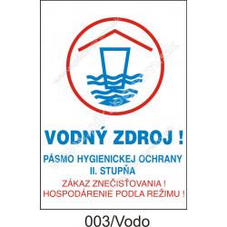 Vodný zdroj! Pásmo hygienickej ochrany II. stupňa. Zákaz znečisťovania! Hospodárenie podľa režimu!