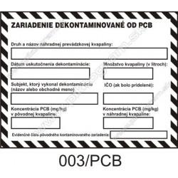 Zariadenie dekontaminované od PCB