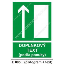 Úniková cesta - únikový východ (E 005) hore