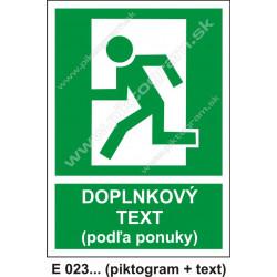 Úniková cesta - únikový východ (E 23) - vľavo