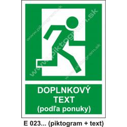 Úniková cesta - únikový východ (E 23) - vpravo