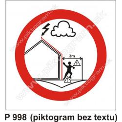 Zákaz zdržiavať sa pri zvodoch počas búrky (piktogram bez textu)
