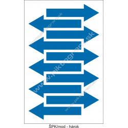 Označenie porubí - šípka smeru toku, modrá