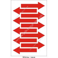 Označenie porubí - šípka smeru toku, červená (hárok s 10 ks)