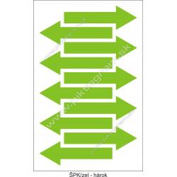 Označenie porubí - šípka smeru toku, zelená (hárok s 10 ks)