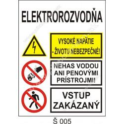 Elektrorozvodňa. Vysoké napätie - životu nebezpečné! Nehas vodou ani penovými prístrojmi! Vstup zakázaný!