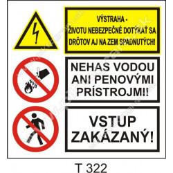 Vyýstraha - životu nebezpečné dotýkať sa drôtov aj na zem spadnutých! Nehas vodou ani penovými prístrojmi! Vstup zakázaný!
