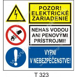 Pozor! Elektrické zariadenie. Nehas vodou ani penovými prístrojmi! Vypni v nebezpečenstve!