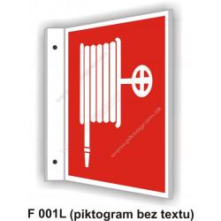 """Požiarna hadica - obojstranné priestorové označenie v tvare """"L"""""""