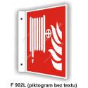 """Požiarna hadica (podľa ISO 7010) - obojstranné priestorové označenie v tvare """"L"""""""