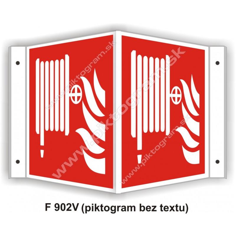 """Požiarna hadica (podľa ISO 7010) - obojstranné priestorové označenie v tvare """"V"""""""