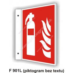 """Hasici prístroj (podľa ISO 7010) - obojstranné priestorové označenie v tvare """"L"""""""