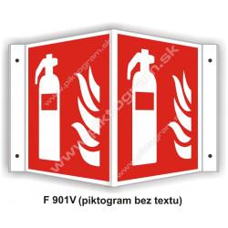 """Hasici prístroj (podľa ISO 7010) - obojstranné priestorové označenie v tvare """"V"""""""