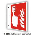 """Tlačidlový hlášič požiaru (podľa ISO 7010) - obojstranné priestorové označenie v tvare """"L"""""""