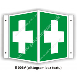 """Miesto prvej pomoci - obojstranné priestorové označenie v tvare """"V"""""""