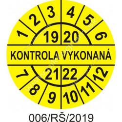 Kontrola vykonaná štítok - dátumový terčík 2018/19/20/21