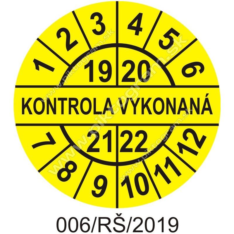Kontrola vykonaná štítok - dátumový terčík 2019/20/21/22