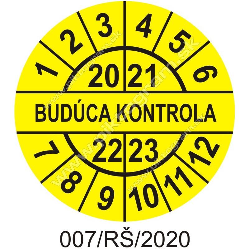 Budúca kontrola štítok - dátumový terčík 2020/21/22/23