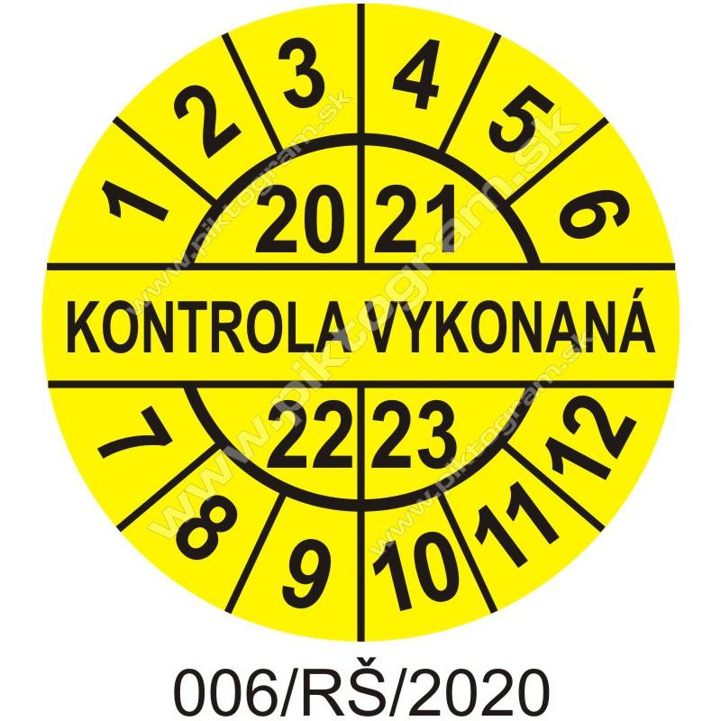 Kontrola vykonaná štítok - dátumový terčík 2020/21/22/23