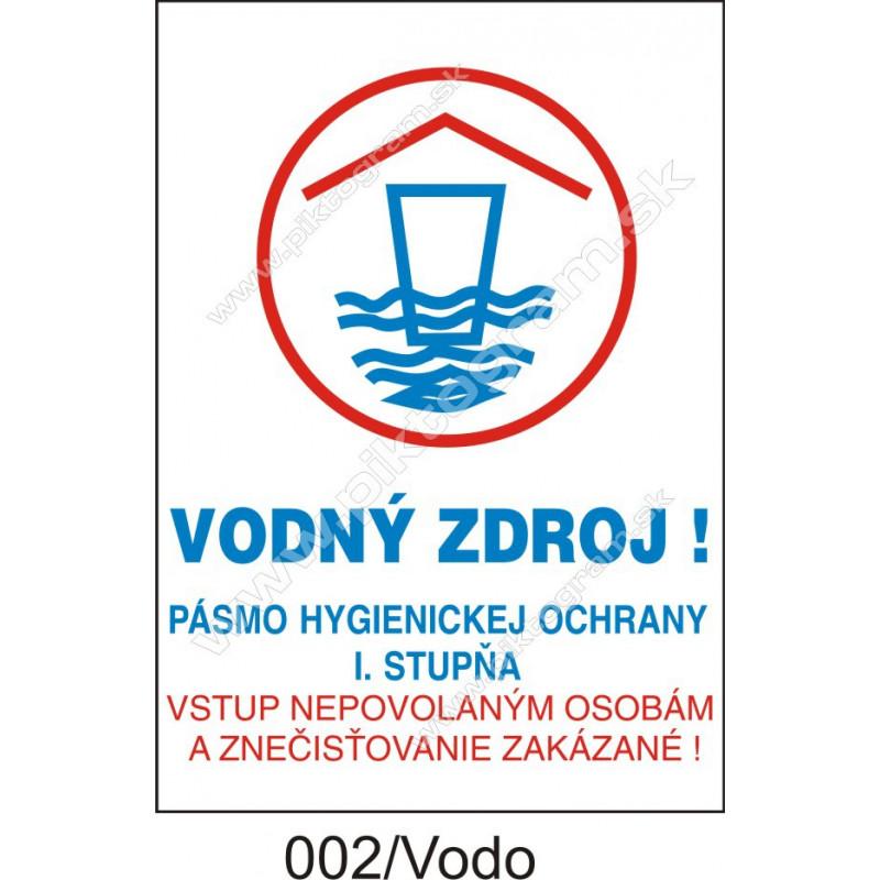 Vodný zdroj! Pásmo hygienickej ochrany I. stupňa. Vstup nepovolaným osobám a znečisťovanie zakázané!