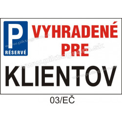 Parkovanie vyhradené pre klientov
