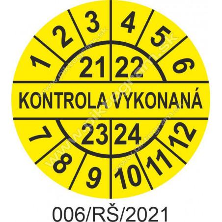 Kontrola vykonaná štítok - dátumový terčík 2021/22/23/24
