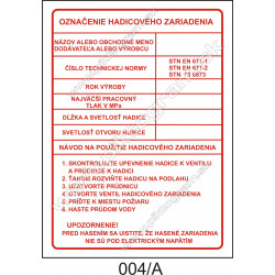 Označenie hadicového zariadenia