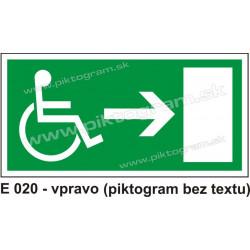 Úniková cesta - únikový východ pre zdravotne postihnutých vpravo