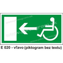 Úniková cesta - únikový východ pre zdravotne postihnutých vľavo