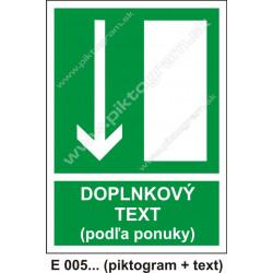 Úniková cesta - únikový východ (E 005) dole