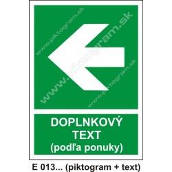 Smer na dosiahnutie bezpečia (E 013) vľavo