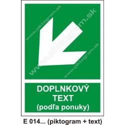 Smer na dosiahnutie bezpečia (E 014) vľavo dole