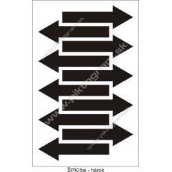 Označenie porubí - šípka smeru toku, čierna (hárok s 10 ks)