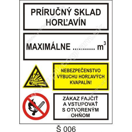 Príručný sklad horľavín. Maximálne ... m3. Nebezpečenstvo výbuchu horľavých kvapalín! Zákaz fajčiť a vstupovať s otv....