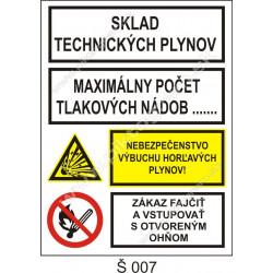 Sklad technických plynov. Maximálny počet tlakových nádob ... . Nebezpečenstvo výbuchu horľavých plynov! Zákaz fajčiť a vstup.