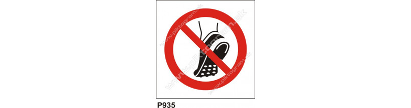 Zákaz nosenia obuvi s kovovými časťami na podrážke - bezpečnostné nálepky a tabuľky