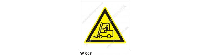 Nebezpečenstvo pohybu priemyselných vozidiel - bezpečnostné značky, piktogram
