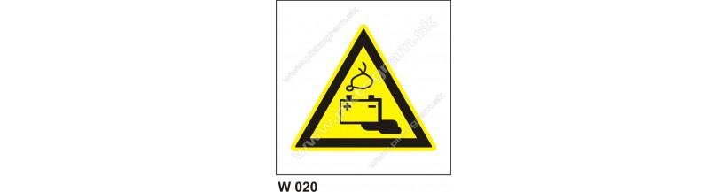 Nebezpečenstvo od akumulátorov - bezpečnostné značky