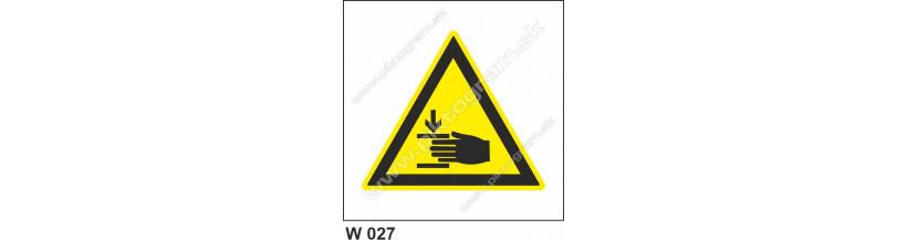 Nebezpečenstvo poranenia ruky - bezpečnostné značenie