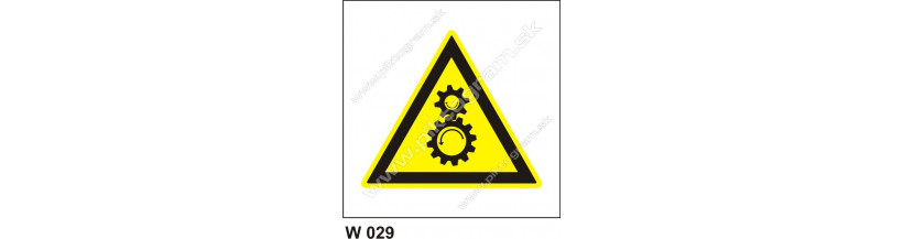 Nebezpečenstvo od chodu stroja - bezpečnostná značka