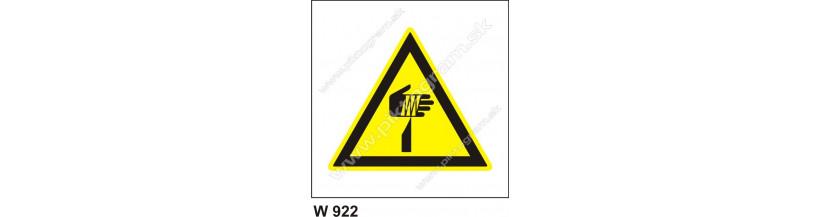 Pozor, ostré hrany - bezpečnostná nálepky, piktogrami a nápisy
