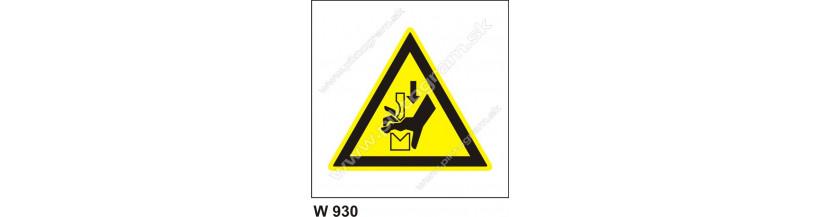 Nebezpečenstvo poranenia ruky pracovným nástrojom - bezpečnostné značky