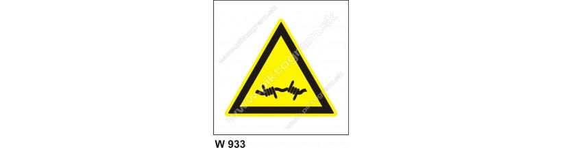 Pozor, ostnatý drôt - bezpečnostná značka
