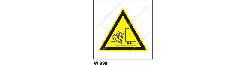 Nebezpečenstvo pádu z rampy - piktogrami s textom