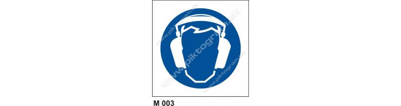 Príkaz na ochranu sluchu - piktogram,  bezpečnostné značenie