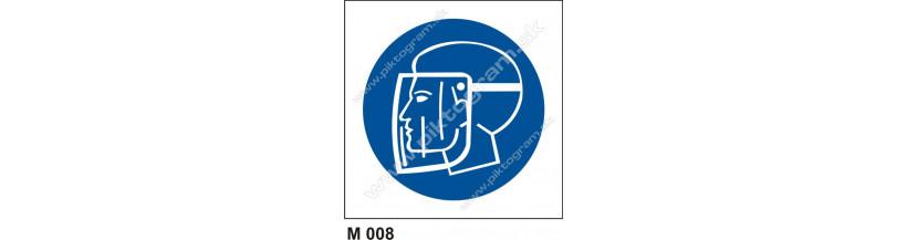 Príkaz na ochranu tváre - piktogram, označenie BOZP a PO